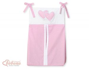 Diaper bag- Hanging Hearts white polka dots on pink