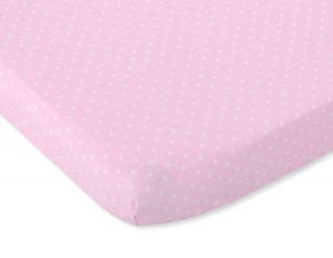 Sheet made of cotton 140x70cm white polka dots on pink