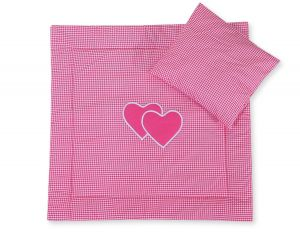 Baby pram set 2pcs- Hanging hearts dark pink checkered