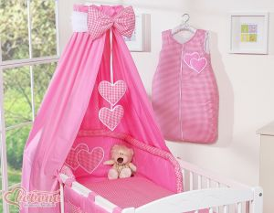 Bedding set 5-pcs with canopy- Hanging Hearts dark pink checkered