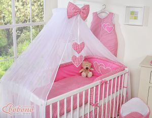 Mosquito-net made of chiffon- Hanging Hearts dark pink checkered