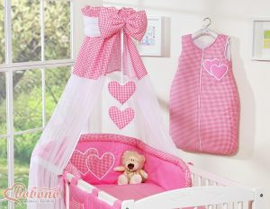 Canopy made of Chiffon- Hanging Hearts dark pink checkered