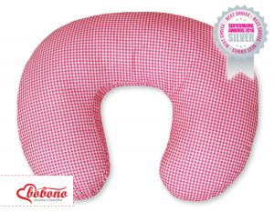 Feeding pillow- Hanging hearts dark pink checkered