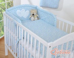 Bedding set 3-pcs- Hanging Hearts little blue flowers