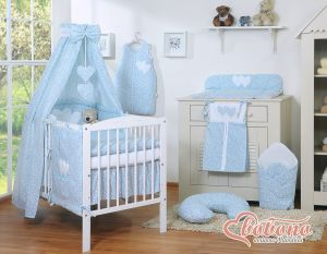 Bedding set 7-pcs with canopy- Hanging Hearts little blue flowers