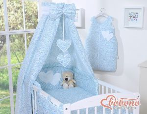 Bedding set 5-pcs with canopy- Hanging Hearts little blue flowers