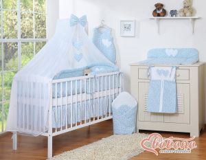 Bedding set 5-pcs with mosquito-net- Hanging Hearts little blue flowers
