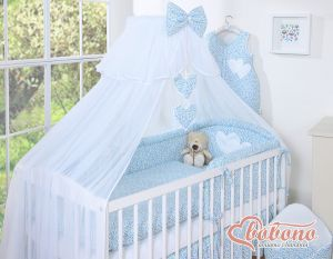 Mosquito-net made of chiffon- Hanging Hearts blue flowers