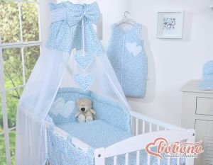 Canopy made of Chiffon- Hanging Hearts blue flowers