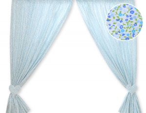 Curtains for baby room- Hanging Hearts blue flowers