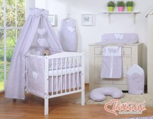Bedding set 7-pcs with canopy- Hanging Hearts little pink flowers