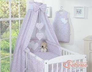 Bedding set 5-pcs with canopy- Hanging Hearts little pink flowers