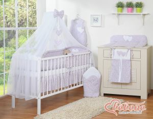 Bedding set 11-pcs with mosquito-net- Hanging Hearts little pink flowers