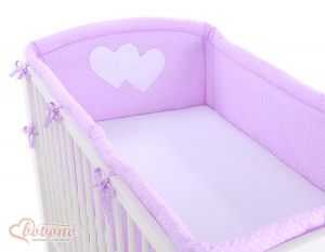 Universal bumper XXL- Hanging Hearts white polka dots on lilac