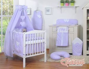 Bedding set 11-pcs with canopy- Hanging Hearts white polka dots on lilac