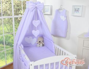 Bedding set 5-pcs with canopy- Hanging Hearts white polka dots on lilac
