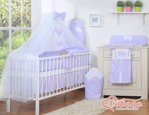 Bedding set 5-pcs with mosquito-net- Hanging Hearts white polka dots on lilac