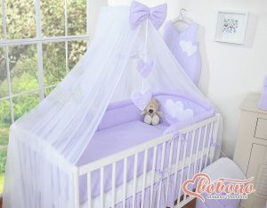 Mosquito-net made of chiffon- Hanging Hearts white polka dots on lilac