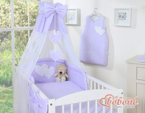 Canopy made of Chiffon- Hanging Hearts white polka dots on lilac