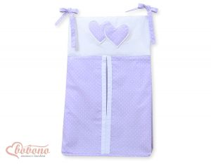 Diaper bag- Hanging Hearts white polka dots on lilac