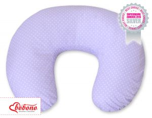 Feeding pillow- Hanging hearts white polka dots on lilac