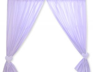 Curtains for baby room- Hanging Hearts white polka dots on lilac