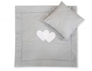 Baby pram set 2pcs- Hanging Hearts white polka dots on grey