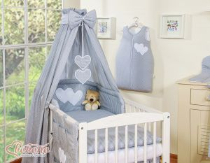 Bedding set 5-pcs with canopy- Hanging Hearts white polka dots one grey