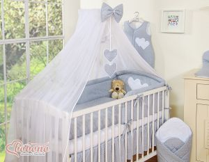 Mosquito-net made of chiffon- Hanging Hearts white polka dots on gray
