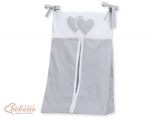 Diaper bag- Hanging Hearts white polka dots on grey