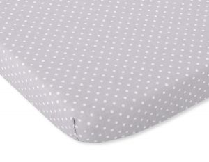 Sheet made of cotton 140x70cm white polka dots on grey