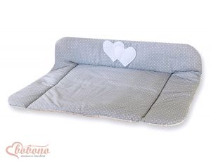 Soft changing mat- Hanging Hearts white polka dots on grey