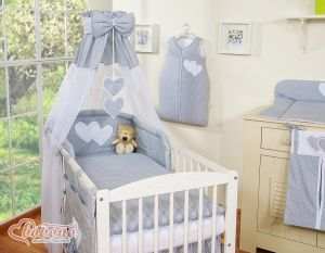 Canopy made of Chiffon- Hanging Hearts white polka dots on gray