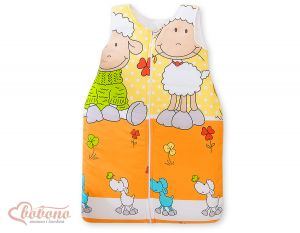 Sleeping bag- Basic Sheeps orange-yellow