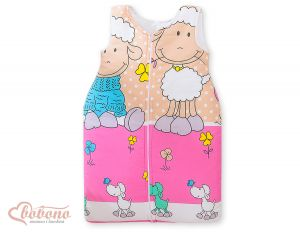 Sleeping bag- Basic Sheeps pink-beige