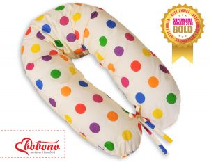 Pregnancy pillow- Dark polka dots on cream