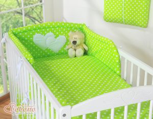 Bedding set 3-pcs- Hanging Hearts white dots on green