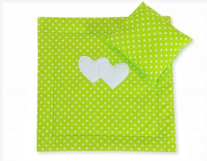Baby pram set 2pcs- Hanging hearts white dots on green