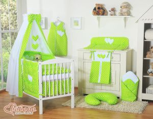 Bedding set 11-pcs with canopy- Hanging Hearts white dots on green
