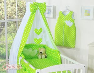 Bedding set 5-pcs with canopy- Hanging Hearts white dots on green