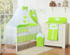 Bedding set 5-pcs with mosquito-net- Hanging Hearts white dots on green