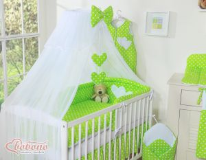 Mosquito-net made of chiffon- Hanging Hearts white dots on green