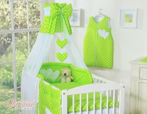 Canopy made of Chiffon- Hanging Hearts white dots on green