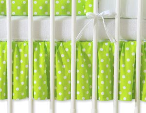 Dust Ruffle-Masking flounce 120x60cm- Hanging Hearts white dots on green