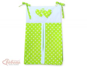 Diaper bag- Hanging Hearts white dots on green