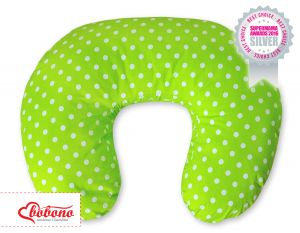 Feeding pillow- Hanging hearts white dots on green
