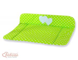 Soft changing mat- Hanging Hearts white dots on green