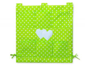 Cot tidy- Hanging Hearts white dots on green