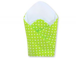 Babynest with stiffening- Hanging Hearts white dots on green