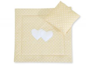 Baby pram set 2pcs- Hanging hearts white dots on beige